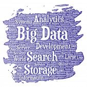 Conceptual big data large size storage systems paint brush word cloud isolated background. Collage of search analytics world information, nas development, future internet mobility concept poster