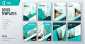 Set of business cover design template in teal color for brochure, report, catalog, magazine or booklet. Creative vector background concept poster