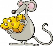 Cartoon vector illustration of mouse with cheese poster