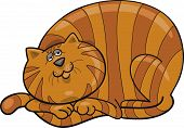 Cartoon illustration of happy fat red cat poster