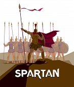Detachment of Roman legionaries. Warriors defenders. Spartans. Logo Spartan. Vector illustration poster