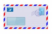 International mail envelope with address window and stamp. Vector 3d illustration isolated on white background poster