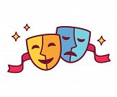 Traditional theater symbol comedy and tragedy masks with red ribbon. Yellow happy and blue sad mask icon vector illustration. poster
