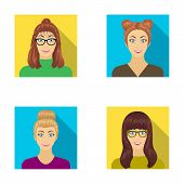The face of a girl with glasses, a woman with a hairdo. Face and appearance set collection icons in flat style vector symbol stock illustration . poster
