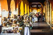 View on sweet market by Portal de Los Dulces in Cartagena - Colombia poster