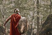 Back view of man in gladiator helmet and red long cloak standing with round shield and spear in hands looking away in woods. Spartan. poster