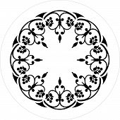 black and white round ornament flower illustration poster