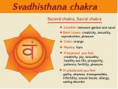 Svadhisthana chakra infographic. Second sexual sacral chakra symbol description and features. Information for learning kundalini yoga poster