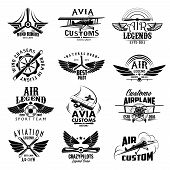Avia customs and retro aviation symbols of airplane propeller and aircraft wings. Vector isolated icons and badges of vintage airscrew for aviation legend or best pilot and wind chasers sport team poster