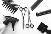 Combs and hairdresser tools in beauty salon on white background top view copyspace poster