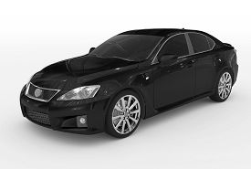Car Isolated On White - Black Paint, Tinted Glass - Front-left Side View