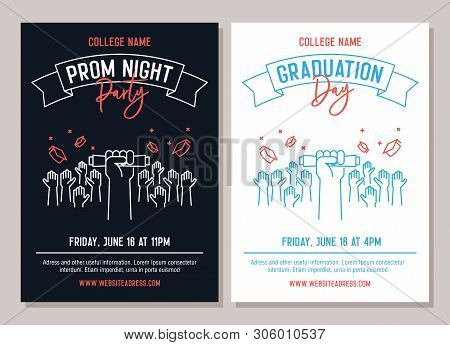 Set Of 2 Academic Posters. Vector Illustration For Prom Night Party Invitations And Another For Grad