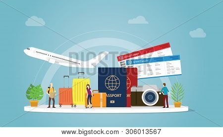 Travelling Or Travel Holiday Concept With Tourist And Plane With Passport And Ticket With Modern Fla