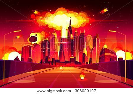 Nuclear Explosion In City Metropolis. Fiery Mushroom Cloud Of Atomic Bomb Detonation Raising Under S