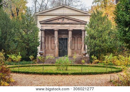 Mausoleum In Charlottenburg Park In Autumn In Berlin. Germany