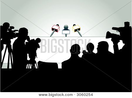 Vector illustration of media people ready for press conference (an each person is on the separate layer). poster