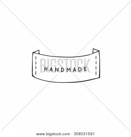 Hand Drawn Isolated Illustration, White Stripe. Vector Handmade Logo Template. For Business Identity