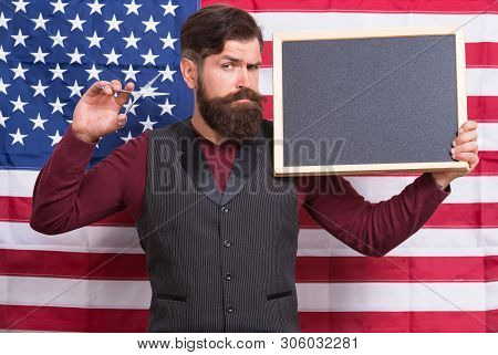 American Style. American Barber Hair Stylist Or Hairdresser American Flag Background. Man With Beard