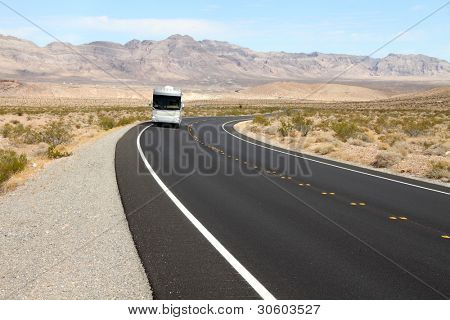 Recreational vehicle (RV) on scenic road
