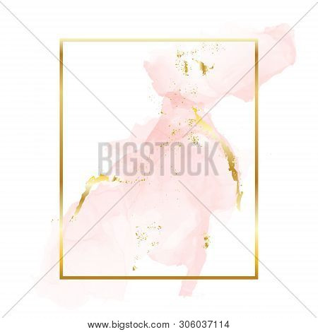 Nude Rose Gold Brush Strokes In Rectangle Foil Contour Frame. Watercolor Rose Gold Blush Texture Tem