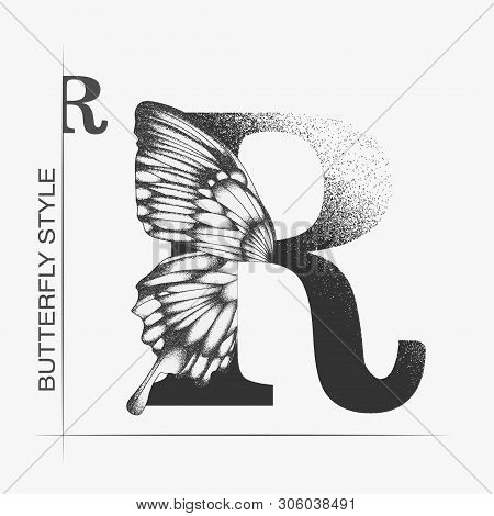 Letter R With Butterfly Silhouette. Monarch Wing Butterfly Logo Template Isolated On White Backgroun