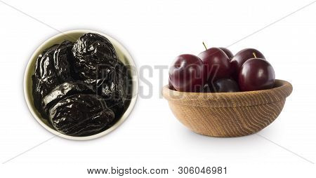 Fresh Plums And Dried Prunes Isolated On A White Background. Prunes And Fresh Plum In A Bowl On Whit