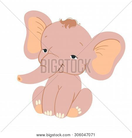 Cute Baby Elefant Sitting. Funny Pink Elefant With For Design