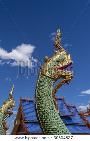 Naga Statue On The Temple Of Thailand