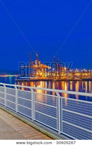 Night view of the quay port of Vancouver, Canada.
