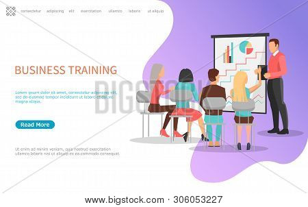 Business Training, People On Meeting Listening To Reporter Near Board With Graphs And Charts. Vector