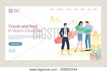 Travel And Rest In Warm Countries, Couple Standing With Map, Person In Suit Holding Surf, Full Lengt