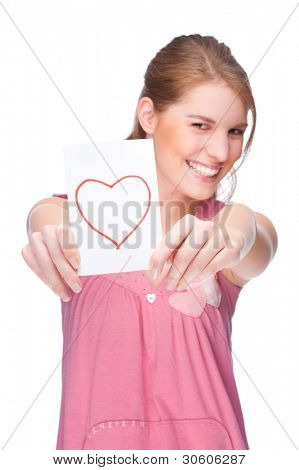 Full isolated studio picture from a young woman with love letter