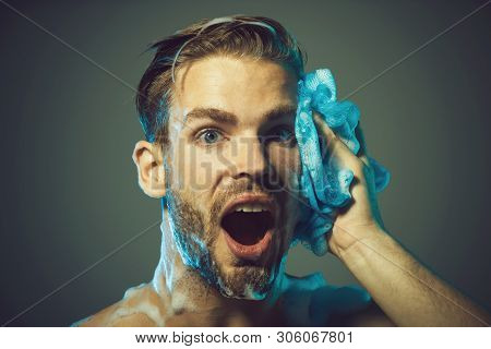 Man Are Taking Shower In Bathroom. Man Washing With Foam. Relaxing Time. Refreshing Shower. Daily Ro