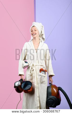 Household And Housework Concept. Happy Retro Housewife. Technological Products For Housewife. Housew