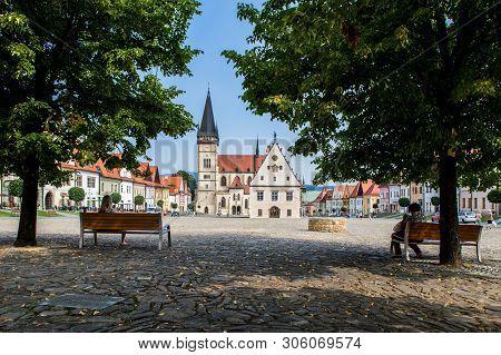 Bardejov, Slovakia - August 09, 2015: Old Main Square Buildings.bardejov, Slovakia