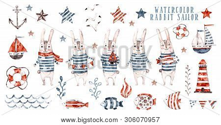 Watercolor Rabbit Sailor, Cartoon Seaman Set. Cute Childish Character Collection, Aquarelle Illustra