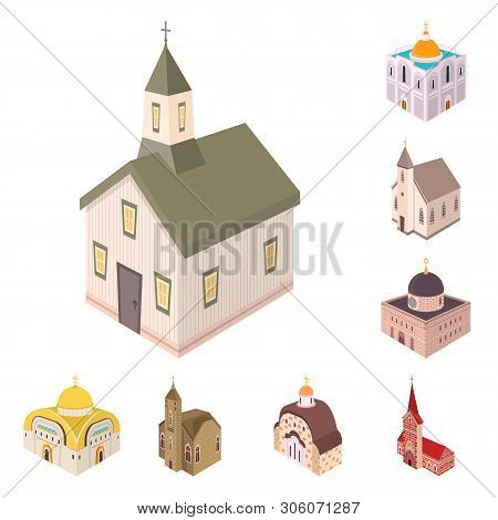 Isolated Object Of Architecture And Building Symbol. Set Of Architecture And Clergy Vector Icon For