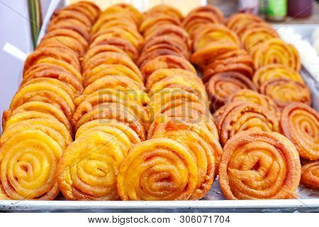 Indian Sweet Dish Jalebi. Delicious Indian Sweet.