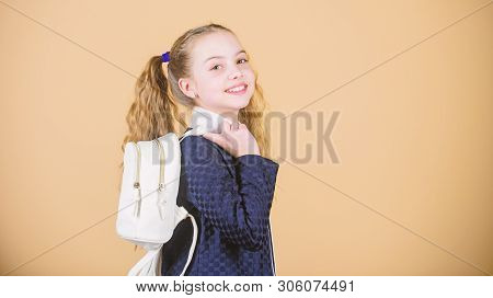 Stylish And Confident. Small Girl With Fashion Look. Little Girl With Long Blond Hair In Fashion Sty