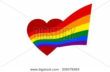 From The Red Heart Comes Rainbow Flag - Symbol Of Pride Lgbt And Lgbtq. Coming Out Lgbt Icon. Rainbo