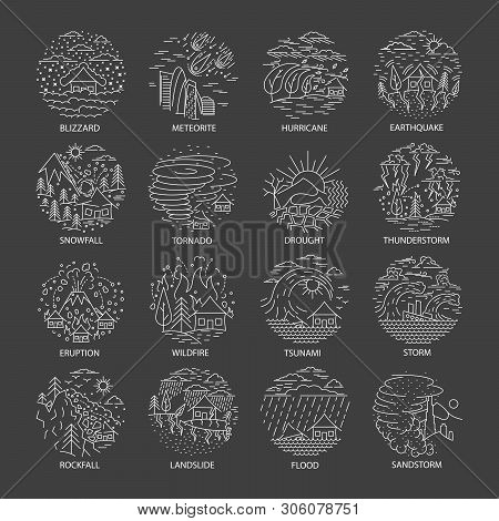 Natural Disaster Icons Collection In Linear Style Isolated On Black Background. Set Of Compositions