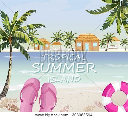 Pink Flipflops At Sea. Summer Seaside Banner Vector. Colorful Travel Posters