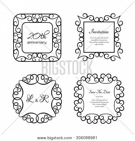 Set Of Vector Frames With Swirly Border Pattern, Ornamental Labels, Vintage Decoration For Certifica