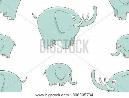 Seamless Pattern With Elefants. Isolated On White Background