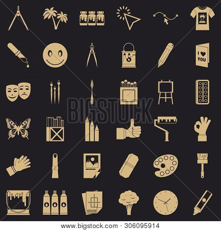 Pigment Icons Set. Simple Set Of 36 Pigment Vector Icons For Web For Any Design