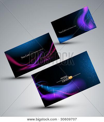 Conjunto de vetores futuristas de cartões (elementos de design)