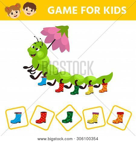 Visual puzzle with aterpillar a centipede in miscellaneous rubber boots. Match the pairs. Find the gumboot that has no pair. Children funny riddle entertainment. poster
