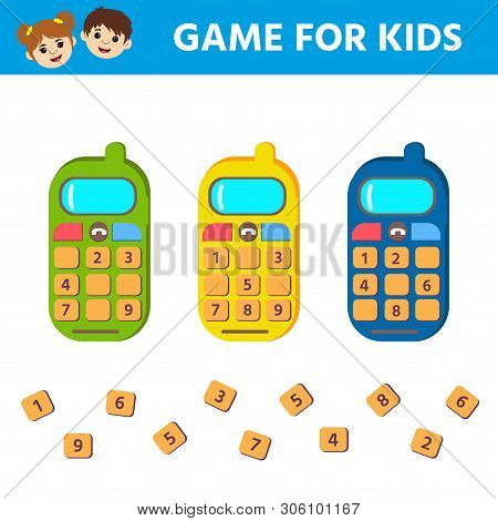 poster of Matching game, educational game for kids. Find the missing numbers in the phone. Children funny riddle entertainment. Activity sheet