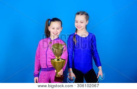 Sport Success. Victory Of Teen Girls. Winners In Competition. Acrobatics And Gymnastics. Little Girl