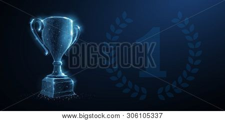 Trophy Cup. Abstract Vector 3d Trophy With Laurel Wreath Isolated Background. Champions Award, Sport
